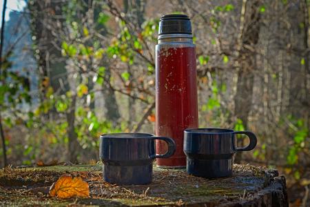 秋の木の幹に 2 つの青いカップと魔法瓶に着け赤