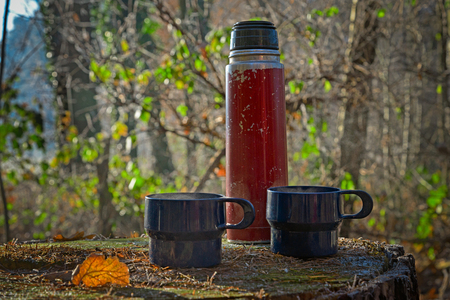 Red worn out thermos bottle with two blue cups on a tree trunk in autumn