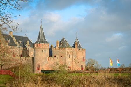 The Muiderslot with moat, a well-preserved medieval castle