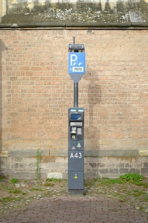 DEVENTER, NETHERLANDS -DECEMBER 24, 2016: Toll ticket parkingzone: an automatic device to pay for parking. Editorial