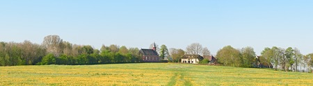 Panorama of the village Rottum built on a terp - mound