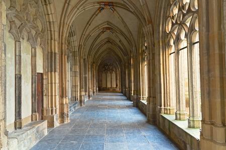 Medieval cloister of The Pandhof in Utrecht, Netherlands Imagens