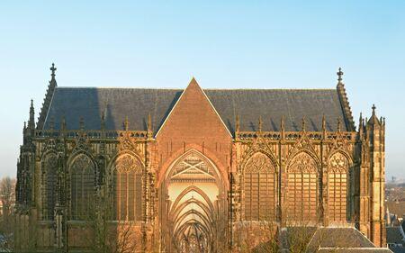 ユトレヒト, オランダ、2017 年 1 月 26 日 - 側 domchurch またはセントマーチン教会のビューです。 報道画像