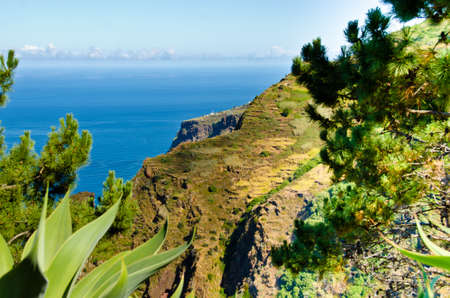 Wide view over the unique, mountainous terraced landscapes of Portugal, Madeira, Europe