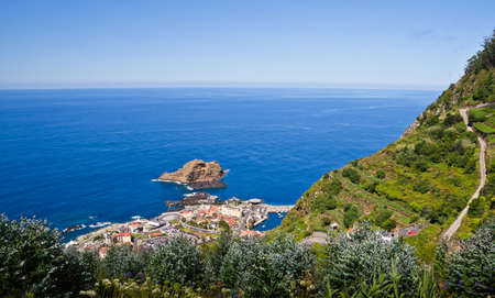 Wide view over the unique, mountainous terraced landscapes of Porto Moniz, Madeira, Europe 写真素材