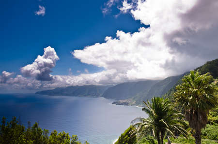 Wide view over the unique, mountainous coastal landscape of Madeira, Portugal, Europe