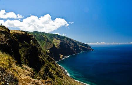 Unique view of the cliffs of Ponta do Pargo, Madeira, Portugal, Europe 写真素材