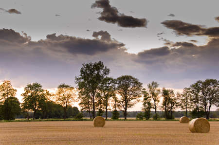 Sunset on the edge of a mown grain field with straw bales