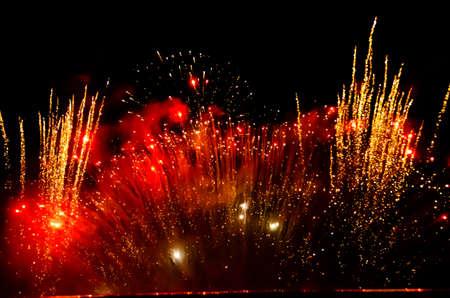 Fulminate, colorful, luminous, real fireworks at night Standard-Bild