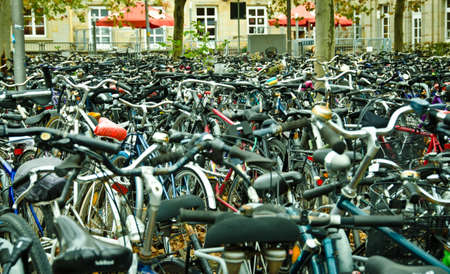 Many bicycles are parked at the main station in G?ttingen, Germany