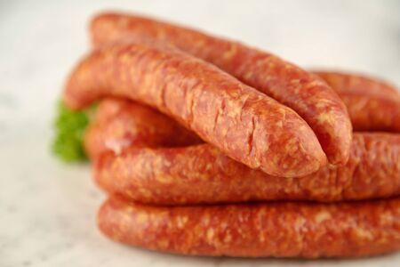 air dried: sausages close up