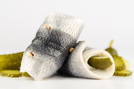 Rollmops isolated on white
