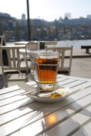 riverfront: Tea at a cafe overlooking the riverfront in Porto, Portugal