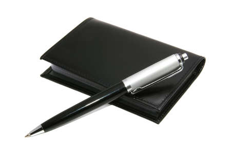 Pen and notepad on a white background