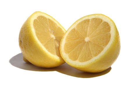 Two half of lemon on a white background