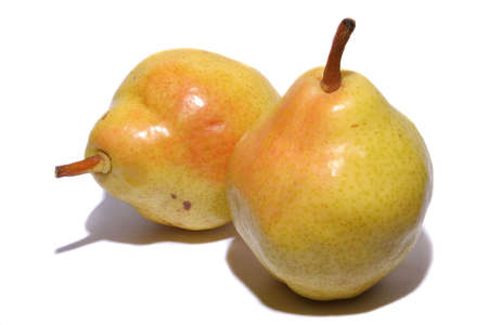 Two yellow pears on a white background Stock Photo