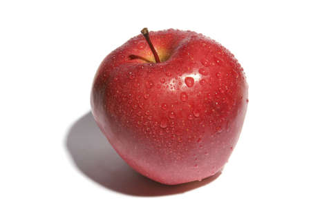 Red apple with drops of dew on a white background Stock Photo