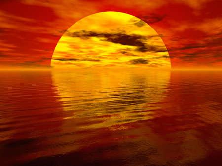 Rendered sea sunset