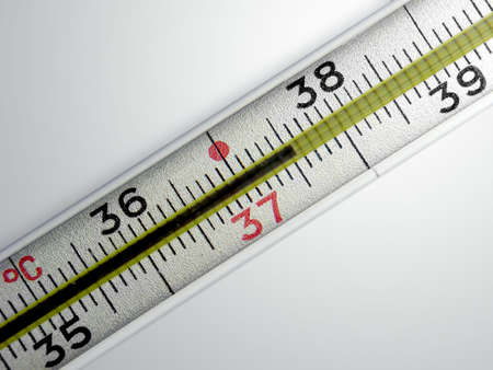 Medical thermometer with with temperature 37.5 on a gradient background