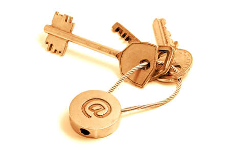 Golden keys with email symbol on a white background Stock Photo - 2014129