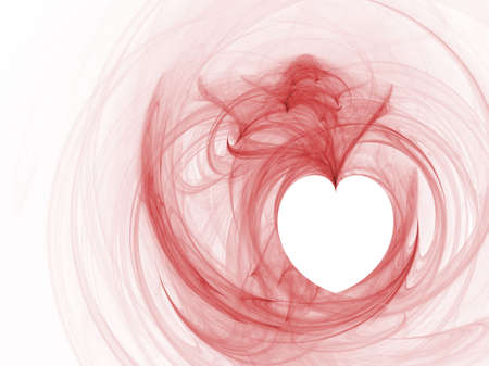 Rendered fractal pink heart over white background