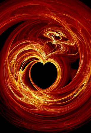 Rendered fractal fire hearts over black background Stock Photo - 2014136