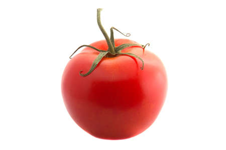 A red juicy tomato on white background