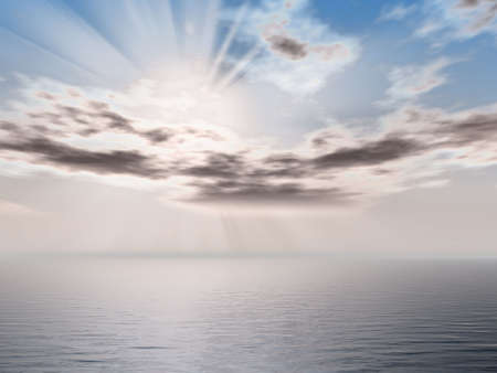 Rendered cloudy morning seascape Stock Photo