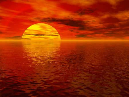 Rendered sea sunset Stock Photo - 2052324
