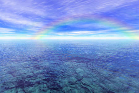 Rendered seascape with a rainbow
