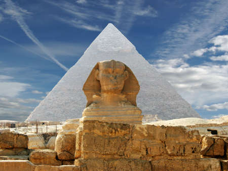 past civilizations: Sphynx and pyramid on a background of the cloudy sky Stock Photo
