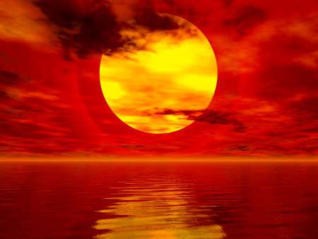 Computer generated sea sunset image Stock Photo