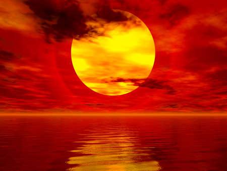 Computer generated sea sunset image Stock Photo