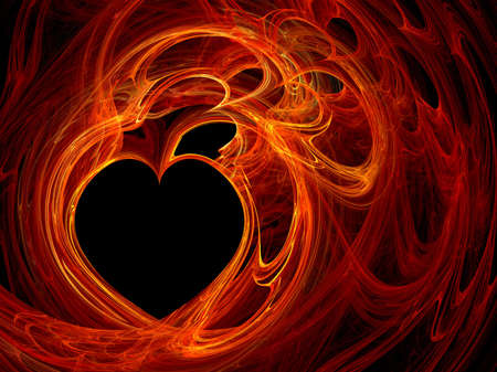 burning heart: Fractal computer generated heart background Stock Photo
