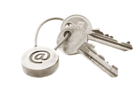 Two keys with e-mail symbol isolated over white