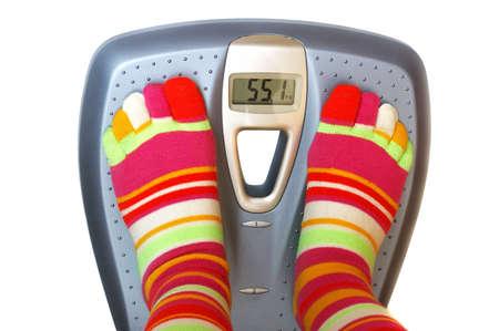 Feet in socks on a scale