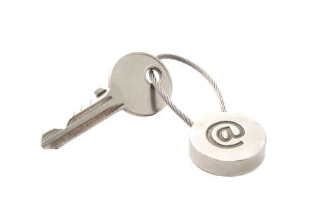 Key with e-mail symbol isolated over white