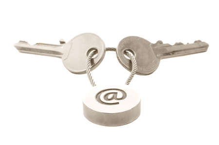 Two keys with e-mail symbol isolated over white Stock Photo - 5380356
