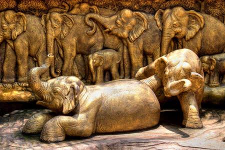 Bronze elephants sculpture composition in Nong Nooch Garden (Pattaya, Thailand) Stock Photo