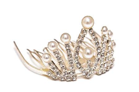 Platinum tiara isolated on a white background photo