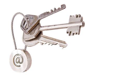 Steel keys with email symbol on a white background Standard-Bild