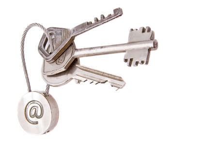 Steel keys with email symbol on a white background Stock Photo