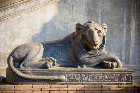 Egypt lion statue in Vatican Stock Photo