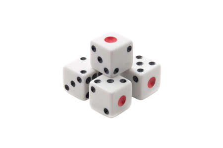 White dices pyramid isolated over white background Standard-Bild