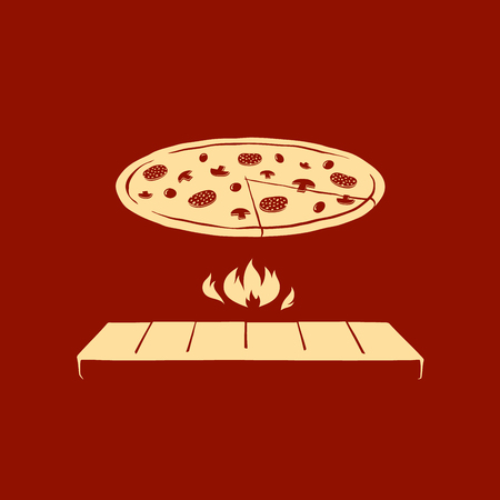 cuted: Picture of Italian pizza grilled on open fire