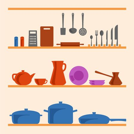 dinnerware: A few shelfs with different types of kitchenware