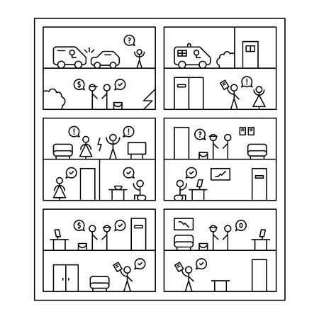 cases: 6 short comics about legal cases. Linear, black color.