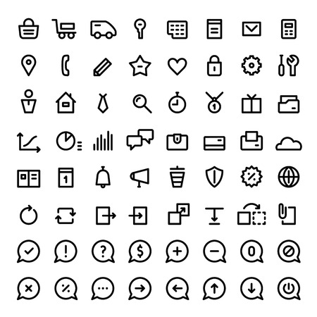 64 mni icons for web services and online shops