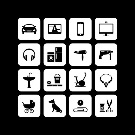 online shop: 16 icons of different products categories for an online shop