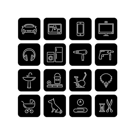 sanitary engineering: 16 icons of different products categories for an online shop